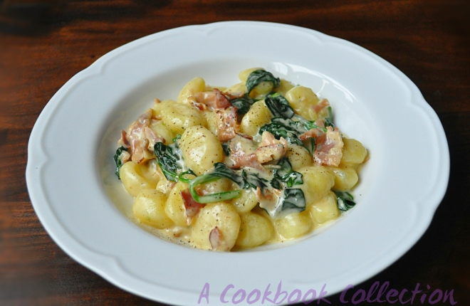 Gnocchi with Blue Cheese, Spinach and Pancetta - A Cookbook Collection