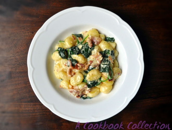 Gnocchi with Blue Cheese, Spinach and Pancetta- A Cookbook Collection