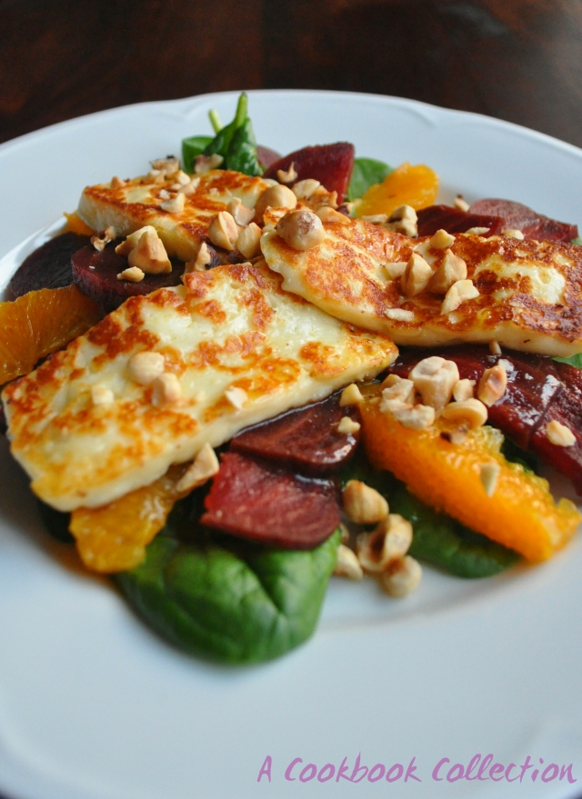 Halloumi Beetroot and Orange Salad with Hazelnuts -A Cookbook Collection