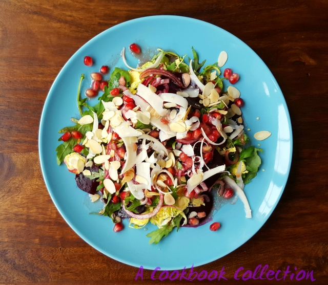 Brussel Sprout Beetroot and Pomegranate Salad - A Cookbook Collection